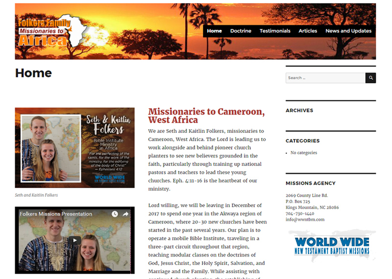 Missionary website FolkersFamily2Africa.org screenshot