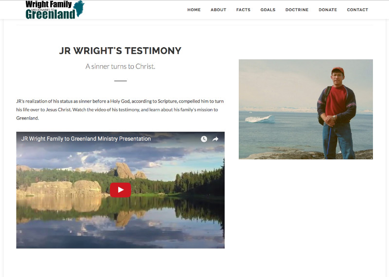 Missionary Website Wrights2Greenland.org screenshot