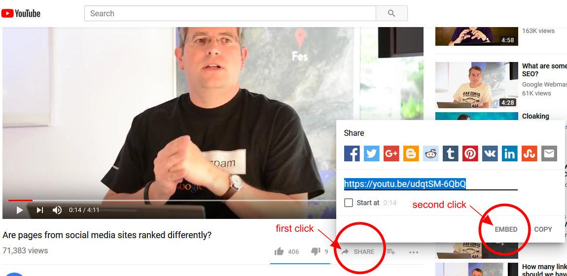 YouTube screenshot of sharing or embedding link