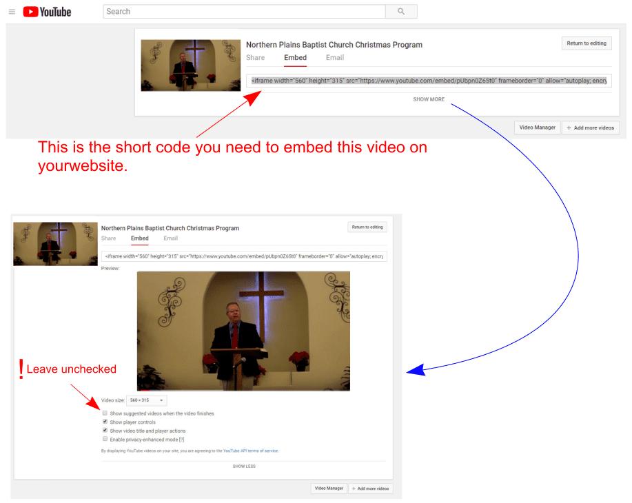 Embedding YouTube Videos screenshot