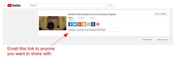 YouTube video link share screenshot