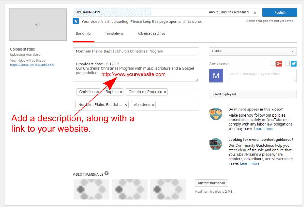 YouTube video description admin screenshot