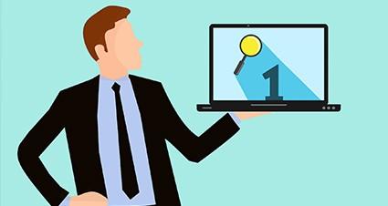 illustration man holding laptop